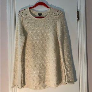 Eddie Bauer Cream Color Long Knit Sweater M